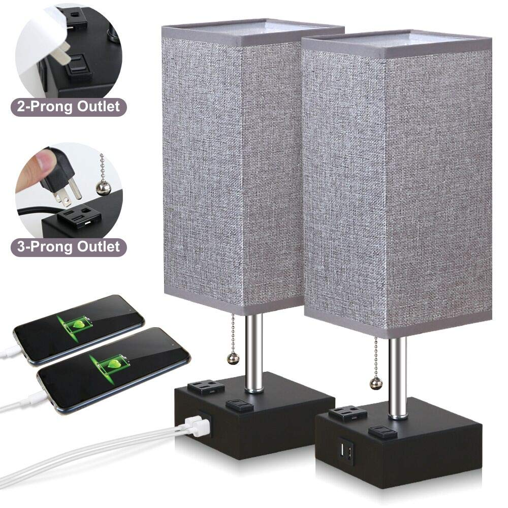 ZEEFO USB Table Lamp, Gray Square Fabric Shade Bedside Table Lamp with Two AC Outlet & Fast Dual USB Charging Ports, Modern Design Desk Lamp Ideal for Bedroom,Office,Guest Room, Kids Room (Set of 2) by ZEEFO