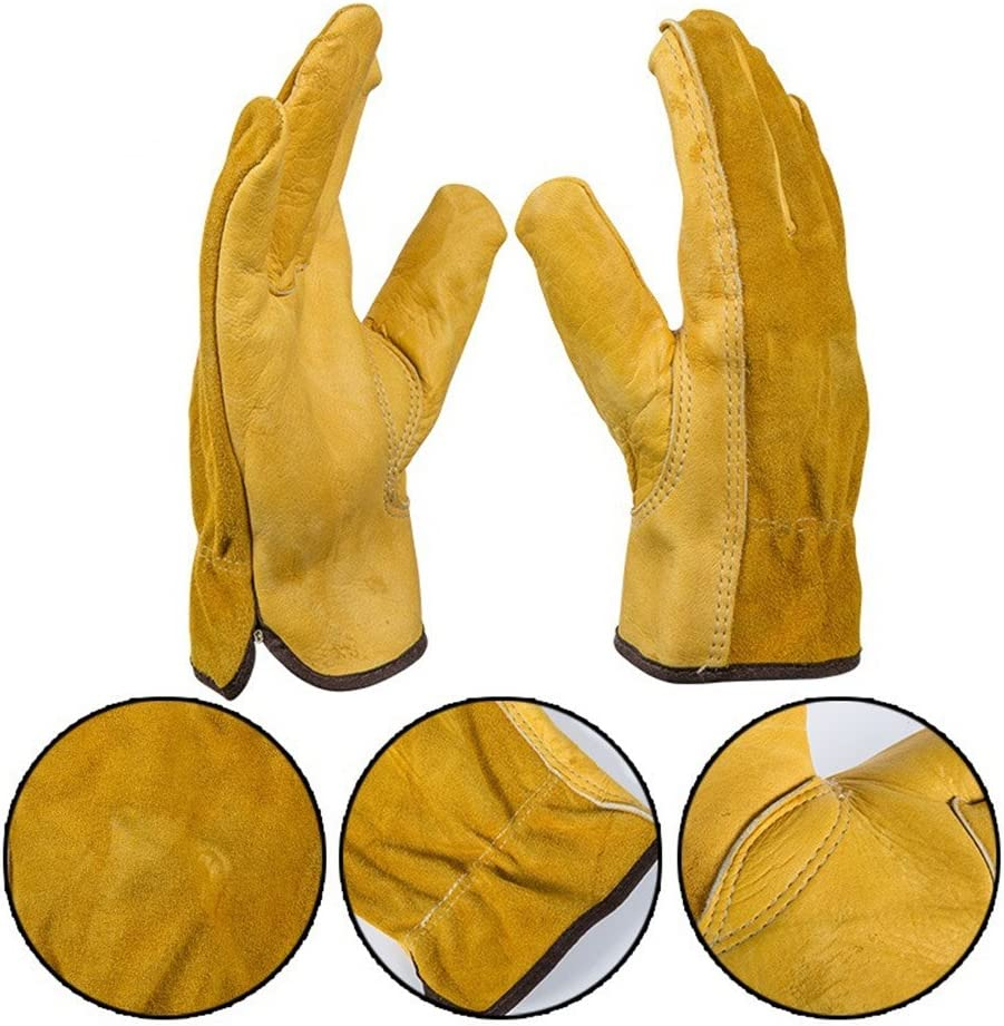 Gants de pr/éhension Fournitures de gants Tout cuir Tout-cuir Cinq doigts r/ésistant /à lusure Produits de s/écurit/é de jardin antid/érapants Convient for le jardinage domestique Manutention Gants d/équit