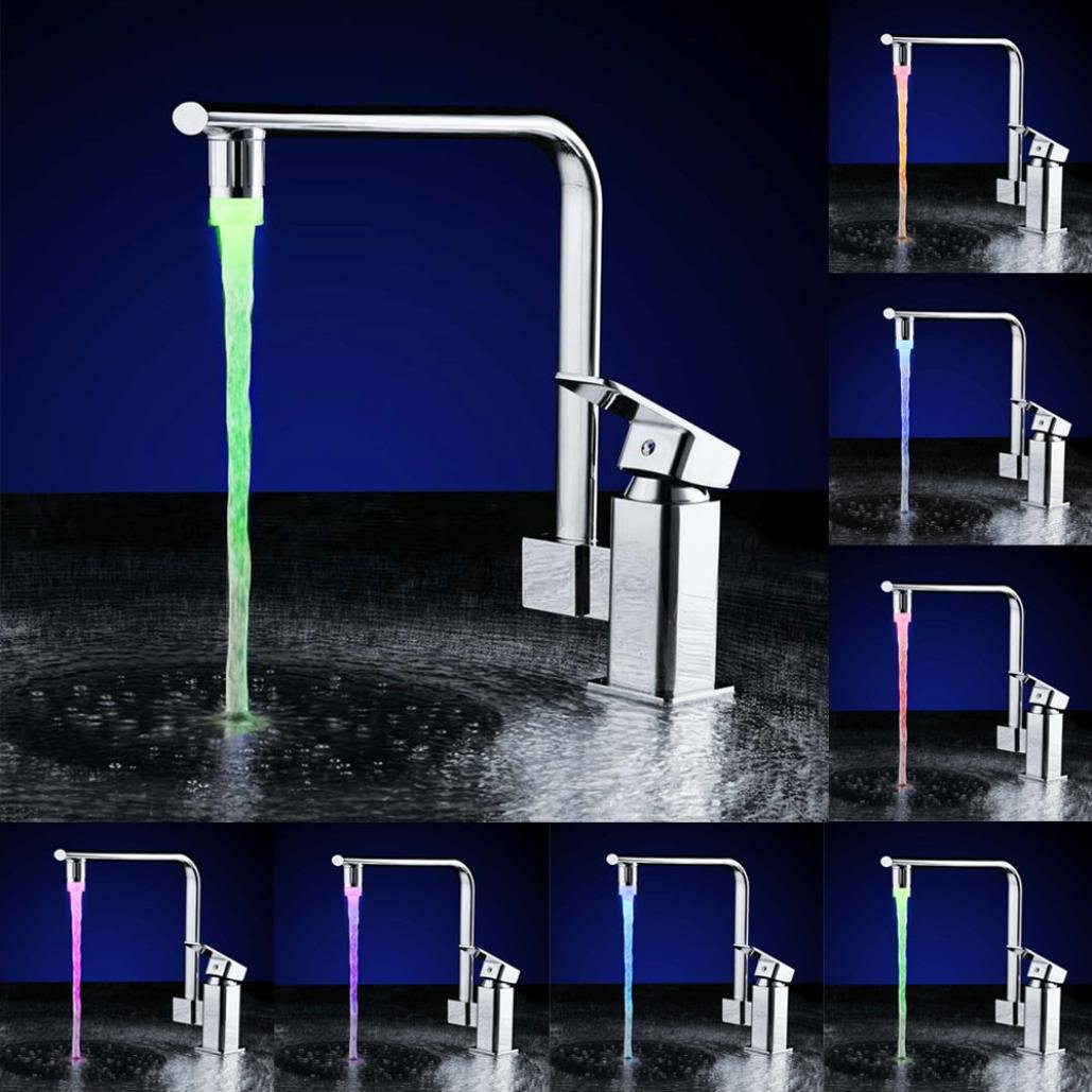Colorful LED Water Faucet, GOTD Water Stream Faucet Tap, 7 Color Changing Temperature Sensor Kitchen and Bathroom