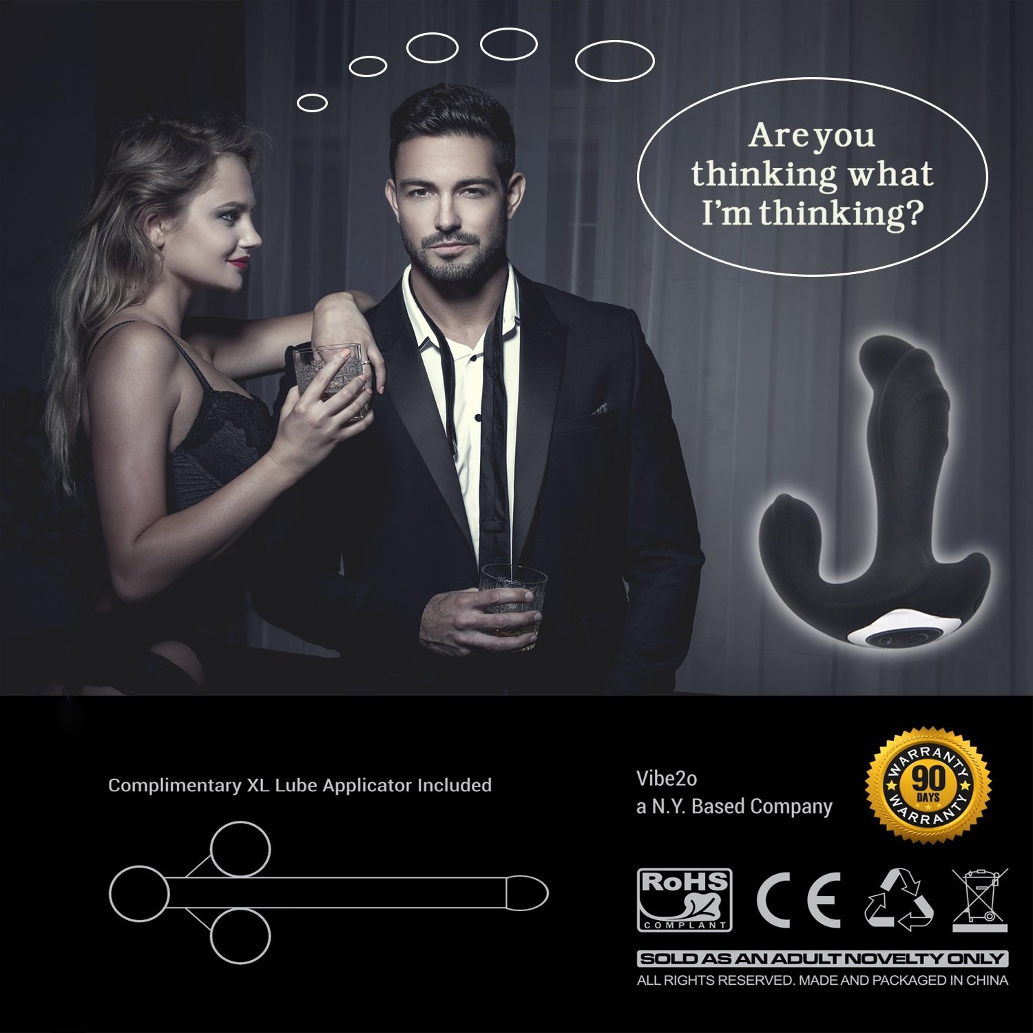 Diablo Strong Dual Motor Prostate Massager for Men 10 Speed Anal Sex Toy Personal G-Spot Vibrator for Women Rechargeable Waterproof Silicone Butt Plug for Men & Women w/ FREE Lube Launcher! by Vibe2o