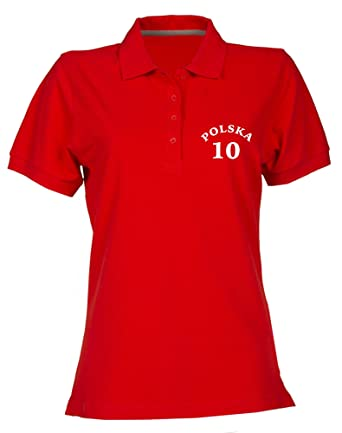 Polo para Mujer Rojo T0645 Polska Polonia Calcio Ultras: Amazon.es ...