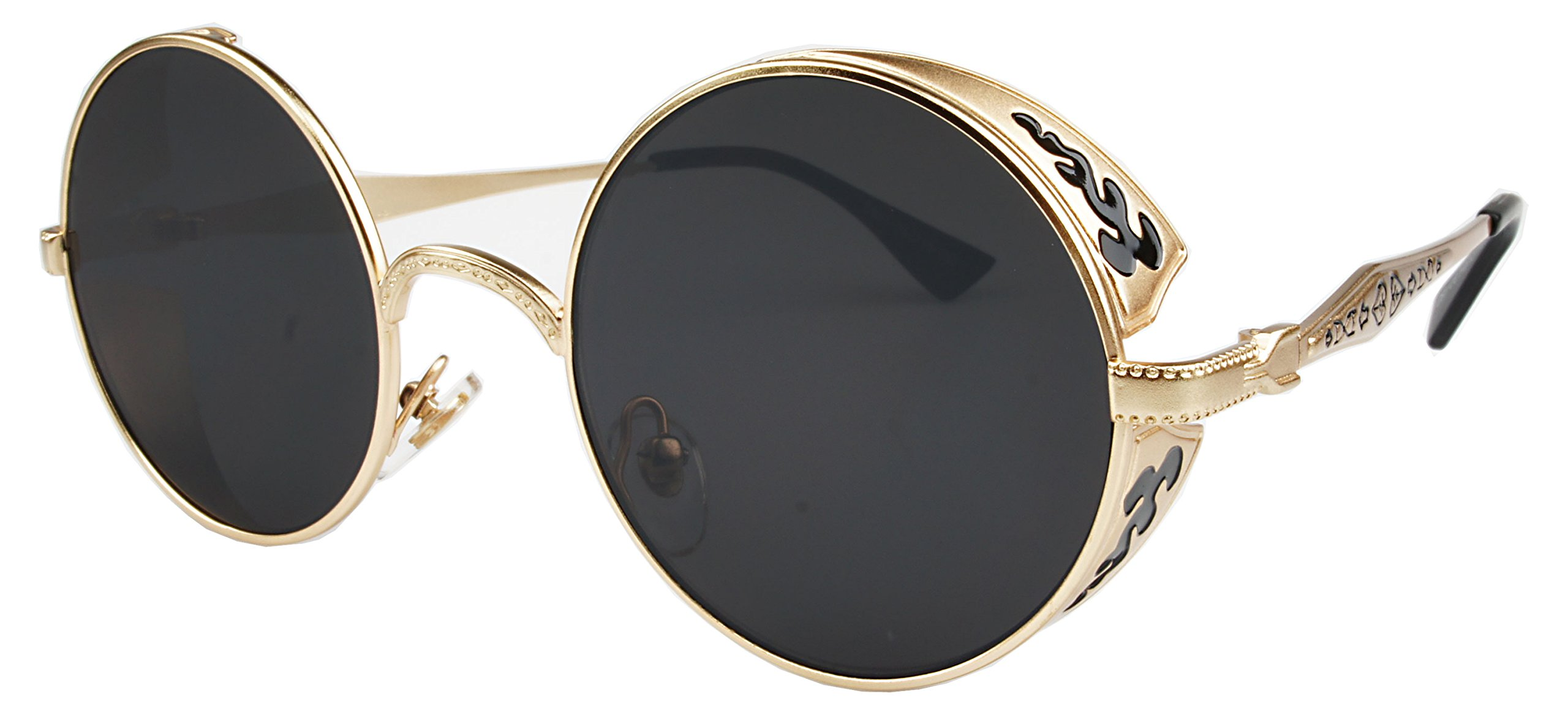 Vintage Hippie Retro Metal Round Circle Sunglasses Gold Frame Black ...