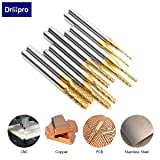 DRILLPRO 10Pcs 0.8-3 mm Titanium Coat Carbide End