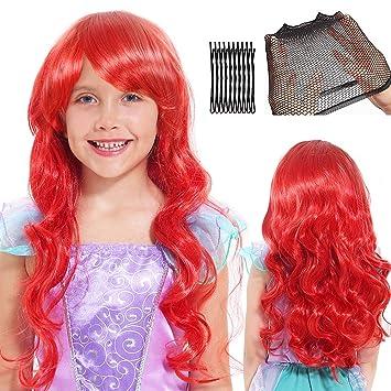 Sirena Peluca para Mujer Niños Cosplay Peluca Largo Rojo Rizado Peluca con Gorro de Peluca y