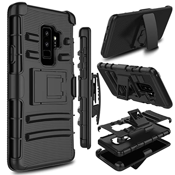 best cheap eb862 ea757 Galaxy S9 Plus Case, Galaxy S9+ Case, Zenic Heavy Duty Shockproof Full-body  Protective Hybrid Case Cover with Swivel Belt Clip and Kickstand for ...