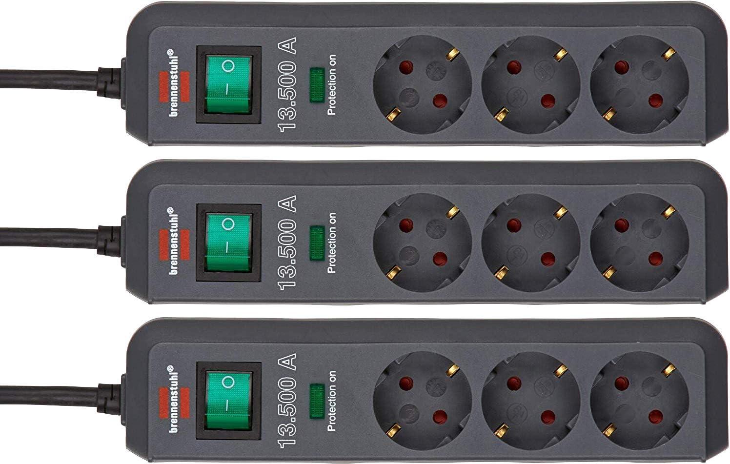 3er Pack Brennenstuhl Eco Line Steckdosenleiste 3 Fach Mit Überspannungsschutz Mit Schalter Und 1 5m Kabel Besonders Stromsparend Farbe Anthrazit Baumarkt