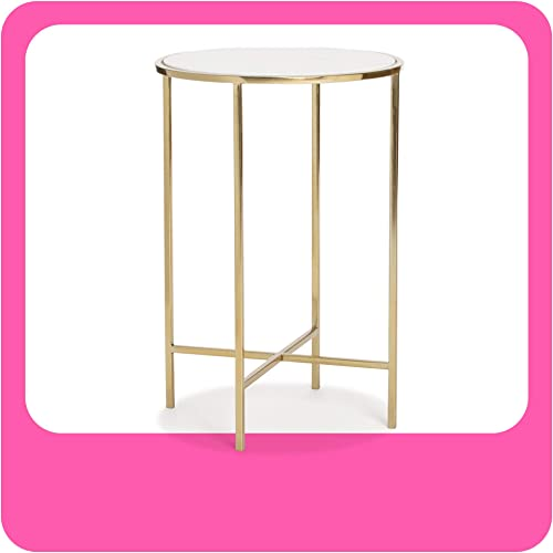 Adore Decor Elliott Marble Side Table Metal Frame