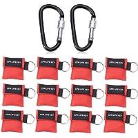 Cymax 12 Stücke CPR Maske mit Karabinerhaken CPR Mask RESPI-Key Beatmungsmaske Schlüsselanhänger Beatmungshilfe Notfalltuch Taschenmaske Erste Hilfe,Rote