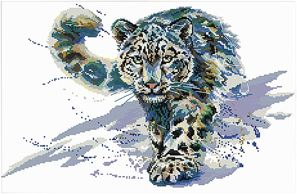 Embroidery Needlepoint Kits Snow Leopard 11CT 63x44cm dailymall Cross Stitch Stamped Kits Pre-Printed Cross-Stitching Starter Patterns for Beginner Kids or Adults