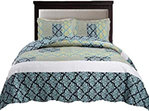 Tache Blue Damask Quilt Bedspread - Ivy - Lightweight Floral Turquoise Reversible Patchwork Quilted Coverlet Set - Queen