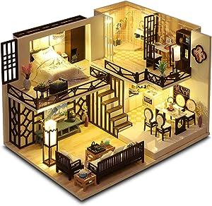 GuDoQi DIY Miniature Dollhouse Kit, Mini Dollhouse with Furniture, Tiny House Kit Plus Dust Cover, DIY Miniature Kits to Build, Great Handmade Crafts Gift Idea