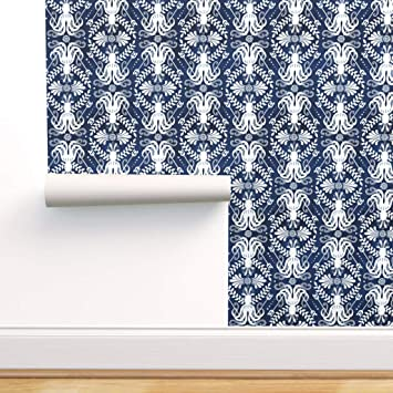 Spoonflower Peel And Stick Removable Wallpaper Kraken Navy White Sea Monster Damask Octopus Nautical Blue Greek Ocean Summer Print Self Adhesive Wallpaper 12in X 24in Test Swatch Amazon Com
