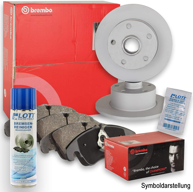 Original Brembo Bremsscheiben hinten Bremsenreiniger Brembo Bremsbel/äge Bremskl/ötze Bremsenset Bremsenkit Komplettset Hinterachse