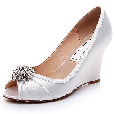 new concept 7e9a4 7d0a3 YOOZIRI Blau Keilschuhe Hochzeit Schuhe Dark Blue Wedding Wedges With Lace  IvoryMedium Heels 3.5 Inch - associate-degree.de