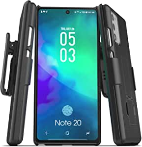 Encased Galaxy Note 20 Belt Clip Case (2020 DuraClip) Slim Cover with Holster for Samsung Note 20 Phone - Black
