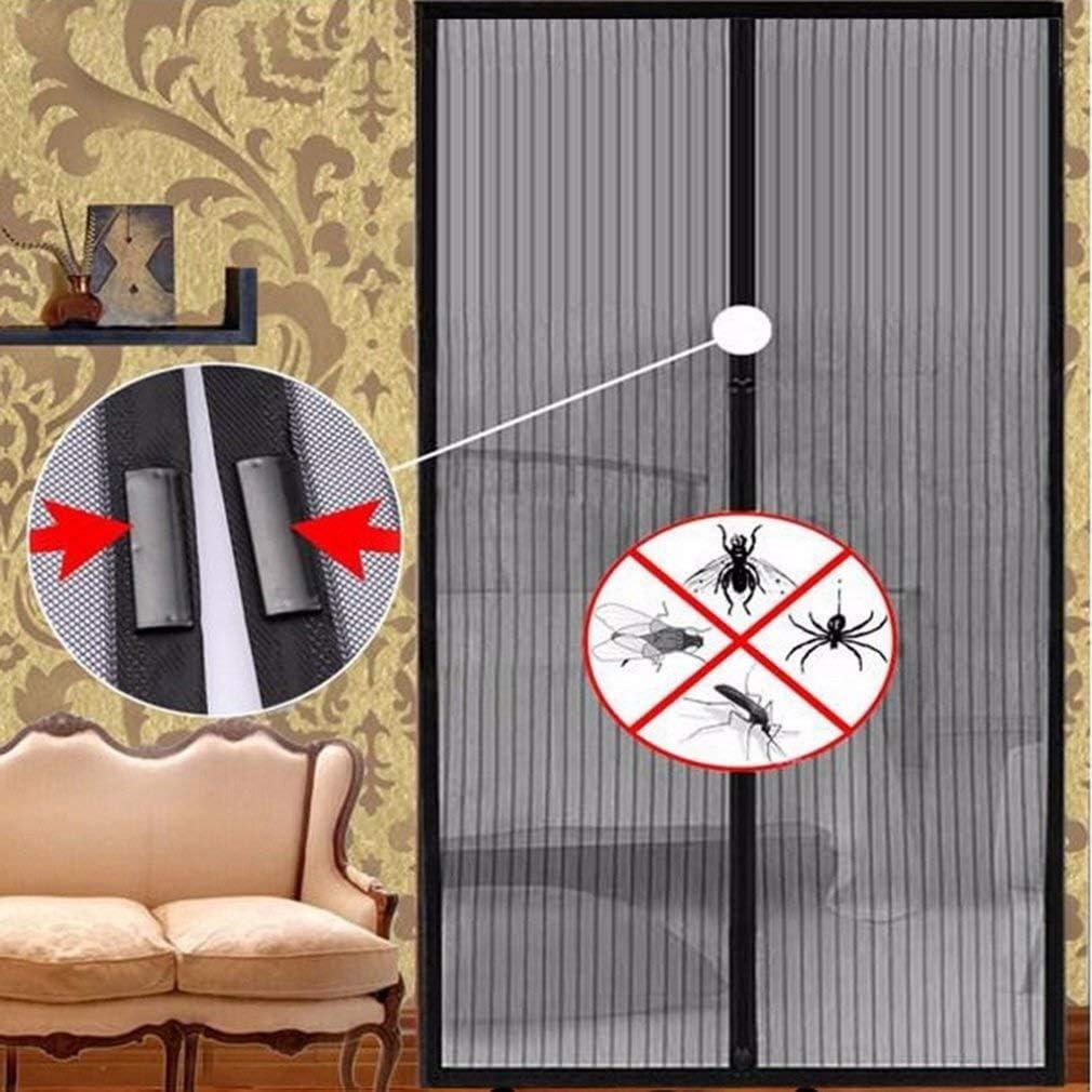 XHING Aimant cryptage moustiquaire /ét/é Anti moustiques Insectes Mouche Bug Rideaux magn/étique Net Mesh Fermeture Automatique for Porte moustiquaire Cuisine Rideau Color : Black, Size : 80 x 210cm