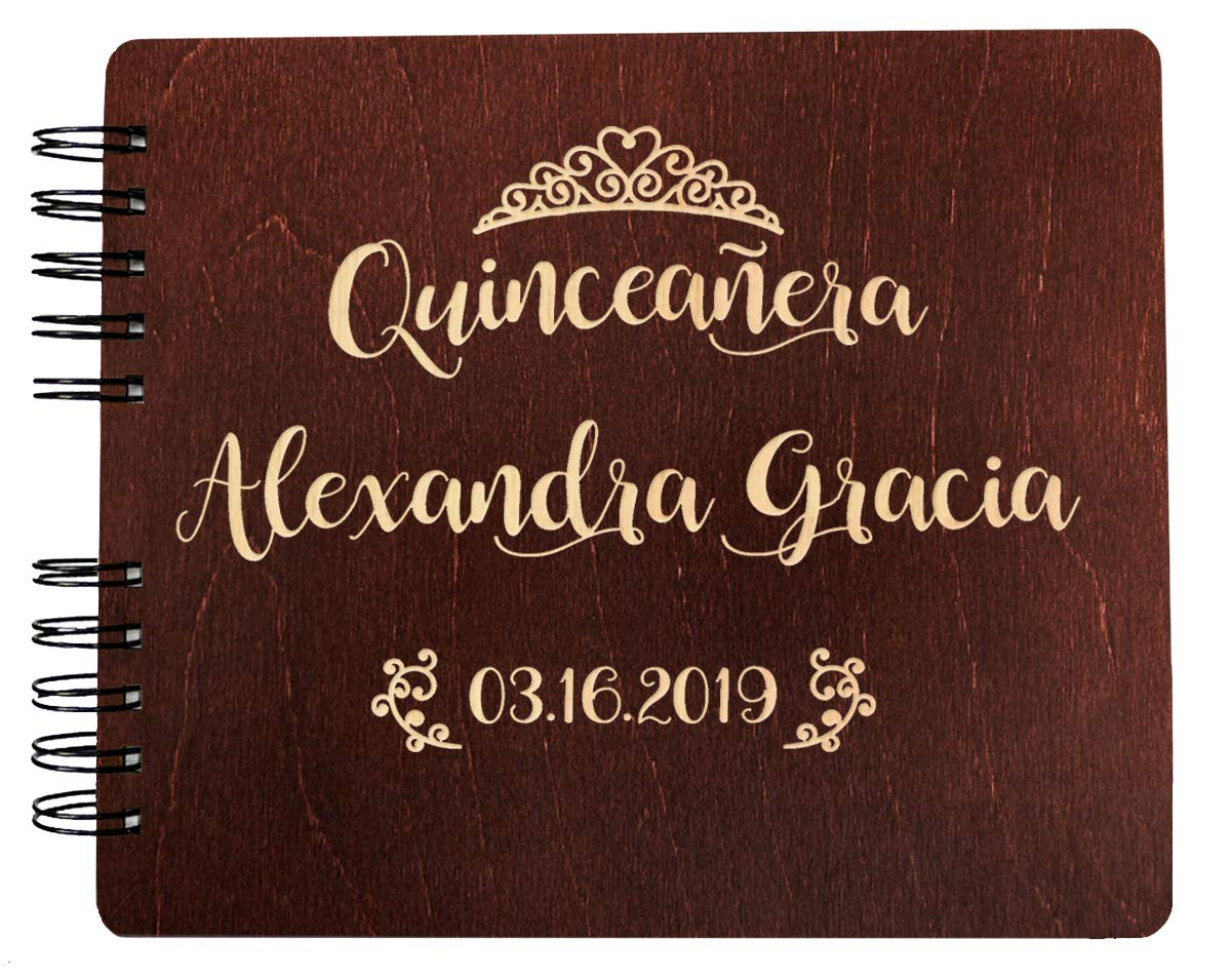 Weddings-by-StockingFactory Quinceanera Guest Book Decorations Gift Rustic Wooden Guestbook (8.5''x7'' or 11''x8.5'') Engraved Personalized 15th Birthday Mis Quince Guests Sign in Party Favor