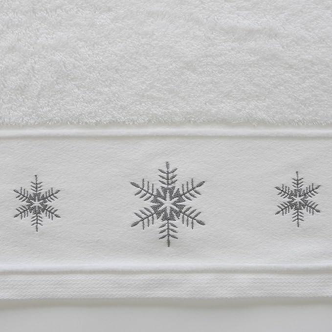 Toalla de 100 % algodón - Bordado con motivo navideño - Copo de nieve - Rojo - Toalla de mano: Amazon.es: Hogar