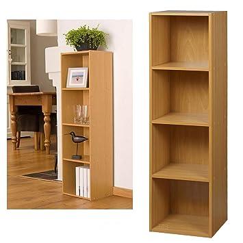 Superb 4 Tier Wooden Bookcase Storage Shelving Unit