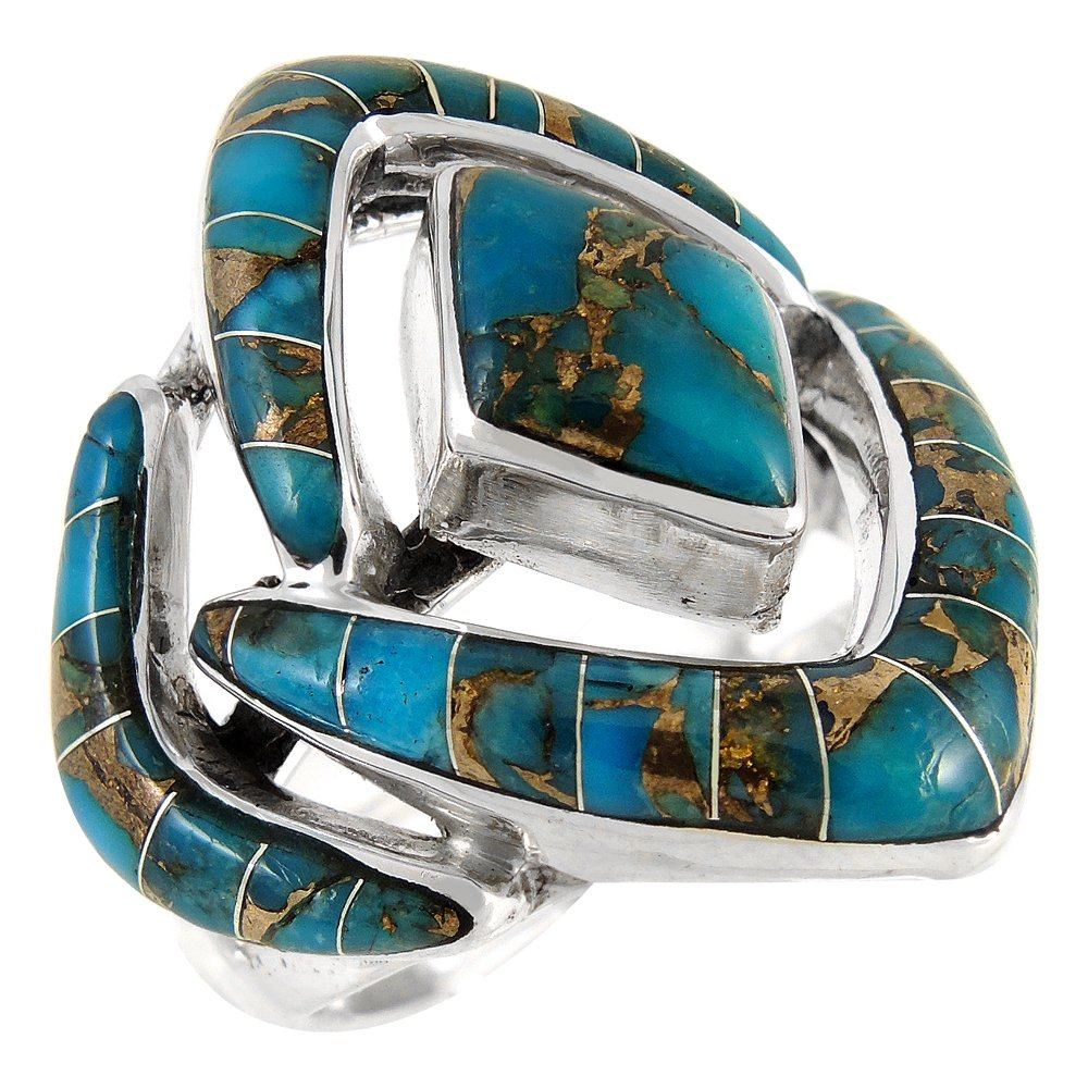 CHOOSE STYLE Turquoise Ring in Sterling Silver 925 /& Genuine Turquoise Size 6 to 12