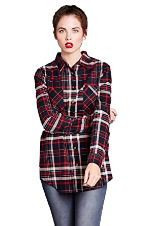 16e7ecb415590 Brave Soul Charles Ladies Check Shirt - Navy Red -X-Small  Amazon.co.uk   Clothing