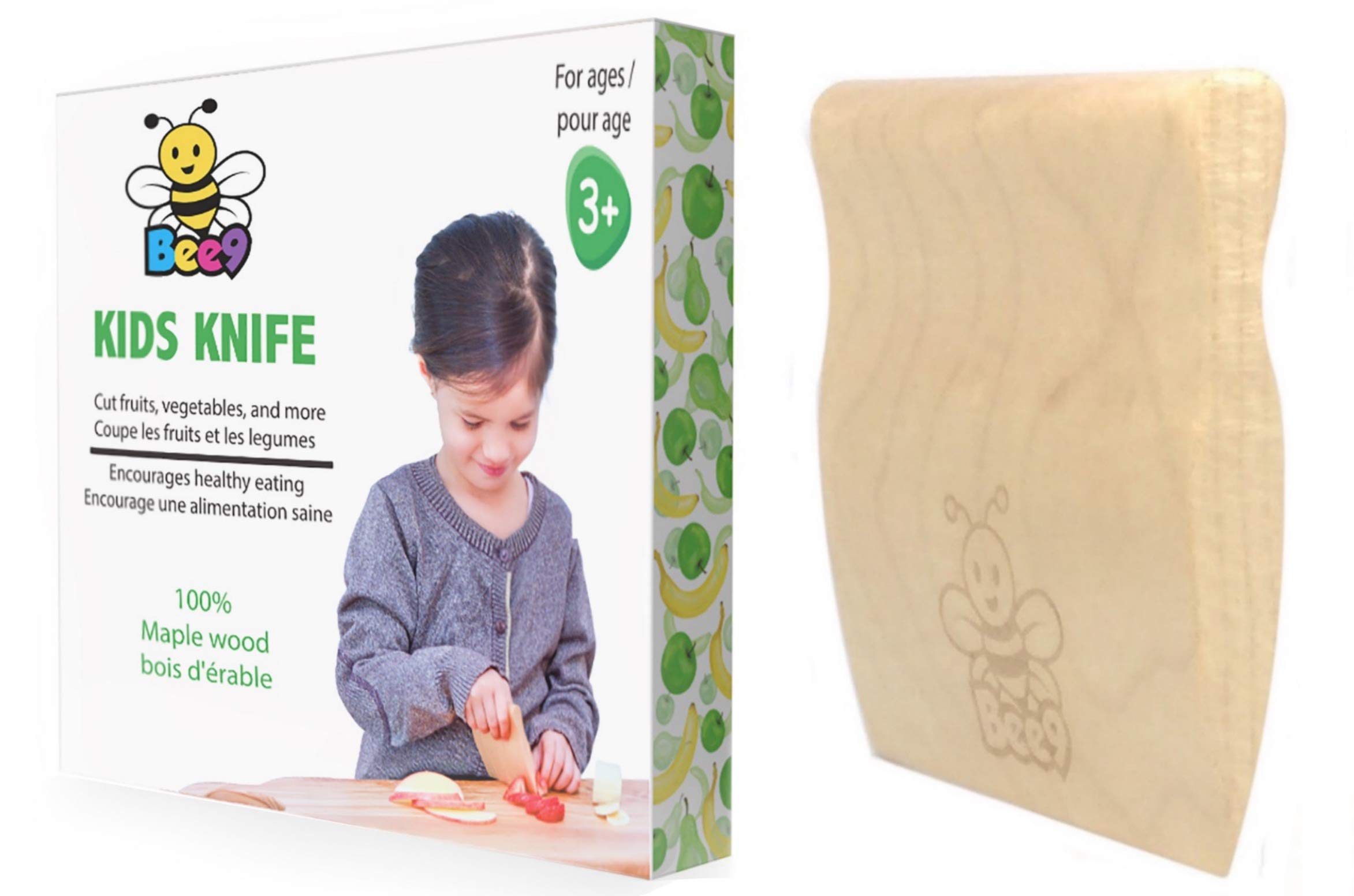 Safe Wood Kids Knife for Toddler and Kids Cooking by Bee9