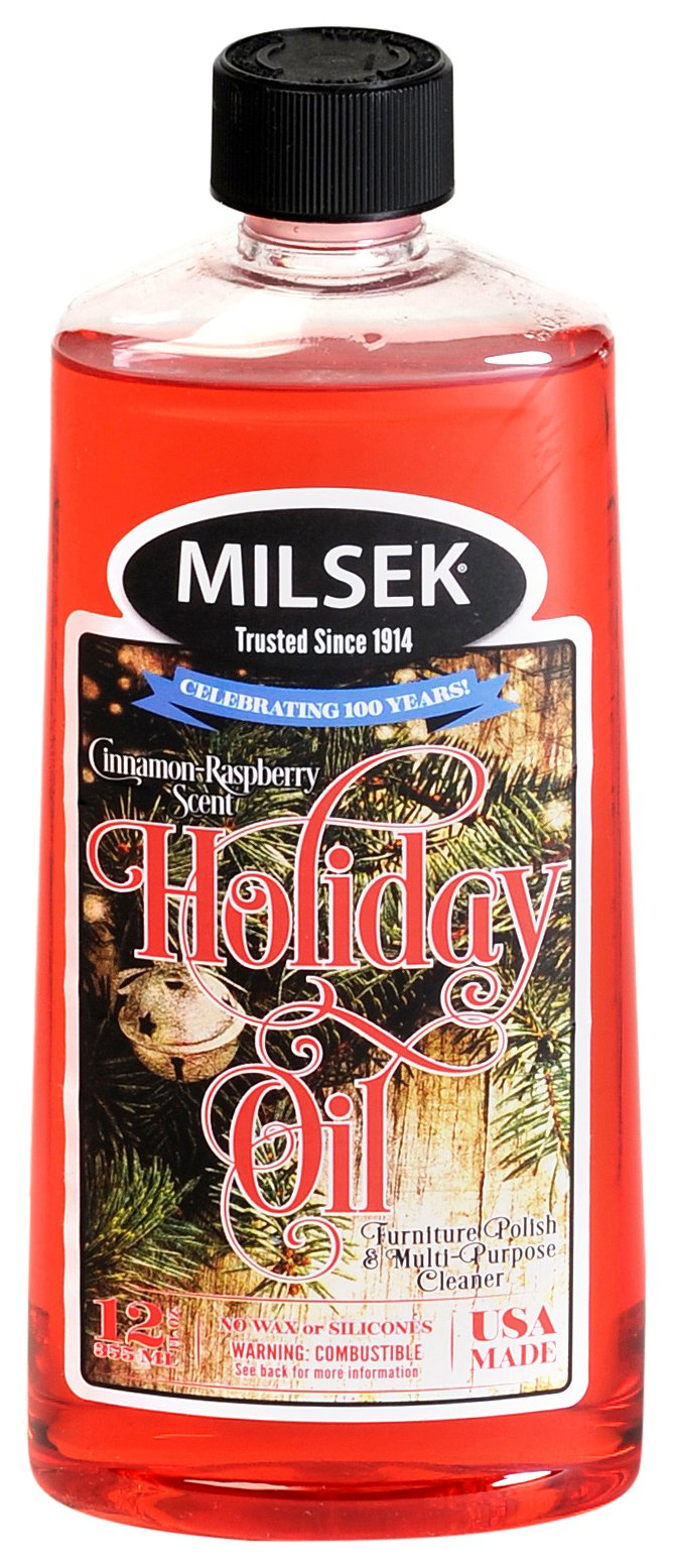 Milsek Furniture Polish and Cleaner with Cinnamon-Raspberry Scent (Holiday Oil), 12-Ounce, Pack of 16, HO-MC