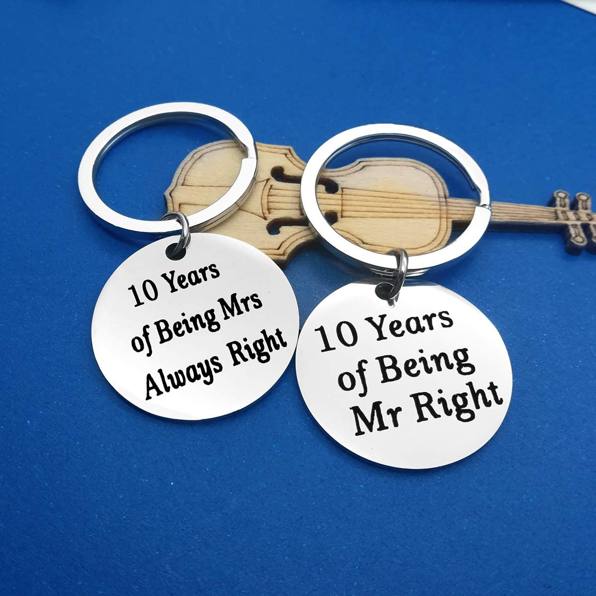 10 Years Anniversary Wedding Gifts Happy Anniversary 10th Keyring Set Matching Keychain Gift for Couple Mom Dad Keyring Anniversary Keyring for Husband Wife Valentine Birthday Gifts