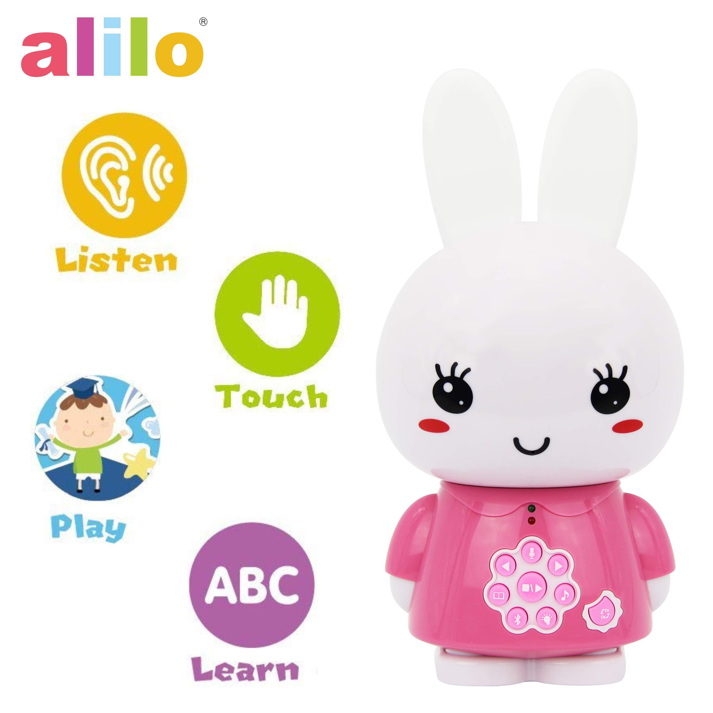 alilo Honey Bunny Story Teller Nursery Rhyme Lullaby Song Bedtime Story Fairy-Tale Interactive Children Brain Kids Early Development Learning Toy Training Bluetooth English Chinese Bilingual G6X Pink