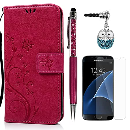 S7 Hülle Case KASOS Leder Handyhülle Brieftasche Tasche Magnetverschluss Ledertasche Cover,Blume-Schmetterling Rose rot + Stö