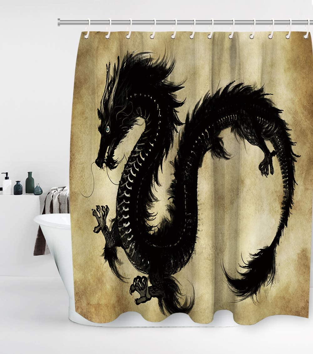 Fantasy Dragon Shower Curtain with 12 Hooks Chinese Mythology Snake Dragon Waterproof Washable and Durable Polyester Fabric Bathroom Set Decor Sets Washable 72 x 72 inches Brown Black and White