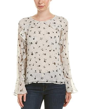66e22a56ba81a0 CeCe Women's Long Sleeve Dotty Silhouettes Ruffled Blouse Antique White  Large
