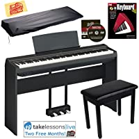 Yamaha P-125 Digital Piano - Black Bundle with Yamaha L-125 Stand, LP-1 Pedal, Furniture Bench, Dust Cover, Instructional Book, Online Lessons, Austin Bazaar Instructional DVD, and Polishing Cloth