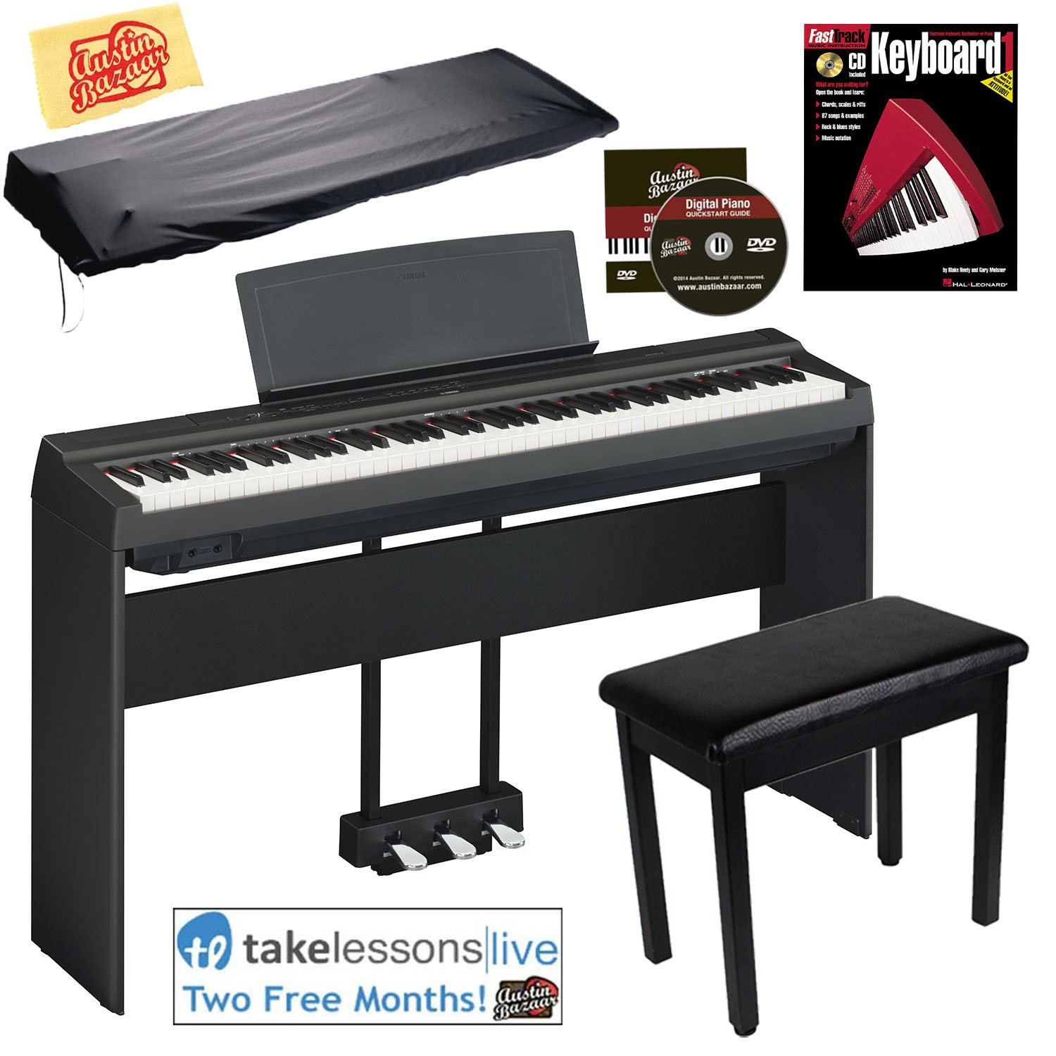 Yamaha P-125 Digital Piano - Black Bundle with Yamaha L-125 Stand, LP-1 Pedal, Furniture Bench, Dust Cover, Instructional Book, Online Lessons, Austin Bazaar Instructional DVD, and Polishing Cloth by Yamaha