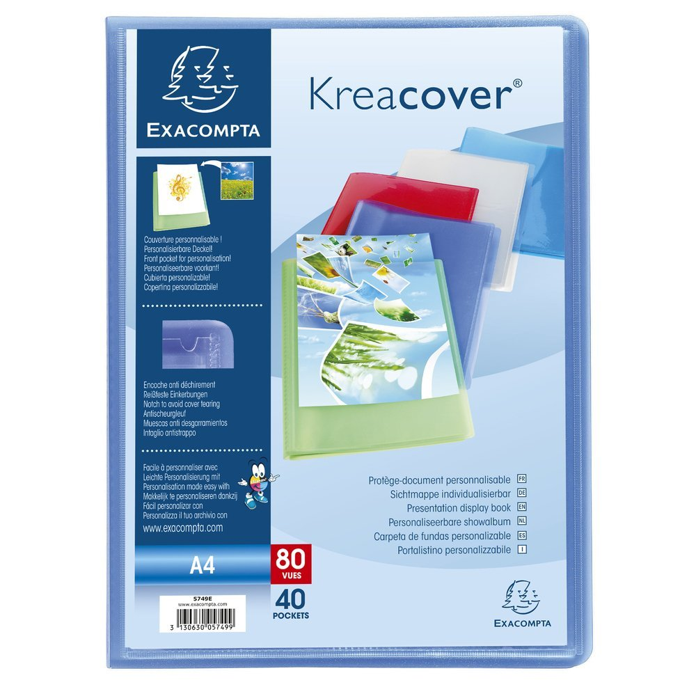 Exacompta Kreacover Chromaline Porte-vues semi rigide A4 40 vues Bleu transparent