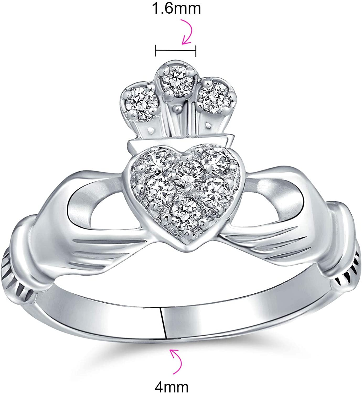 Irish Claddagh Heart Promise Ring 925 Sterling Silver Round CZ Choose Color