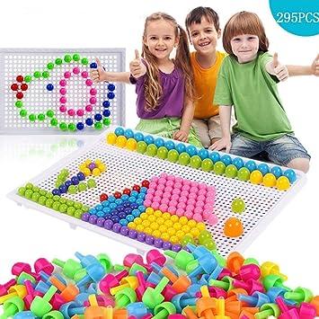 295Pcs Mosaïque Puzzle Jouet Bloc Jeux de Construction Jigsaw Puzzle 3d Clous de Champignon Colorées Créatif DIY Briques Construction Jouet Educatif