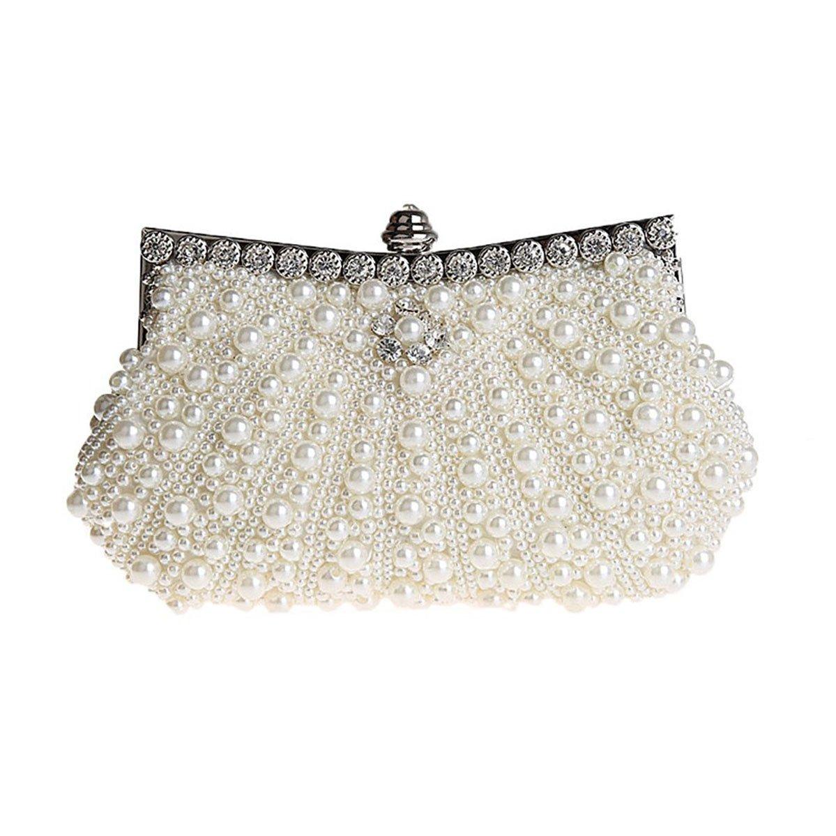 9c32cf775e HONGCI Glitter Faux Pearl Beaded Rhinestone Women s Clutch Bag ...