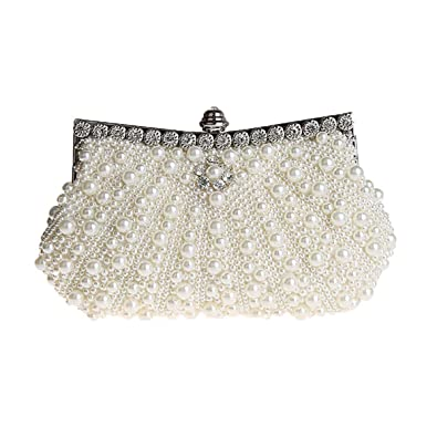 9c32cf775e HONGCI Glitter Faux Pearl Beaded Rhinestone Women s Clutch Bag ...