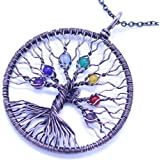 Tree Of Life Pendant Amethyst Crystal Necklace, Gemstone Chakra Jewelry Mothers Day Gifts for Women