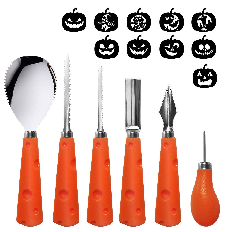 U-Goforst Pumpkin Carving Kit - 6 Piece Reusable Stainless Steel Tools Set and 10 Carving Pattern Easily Carve Sculpt Halloween Jack O Lanterns