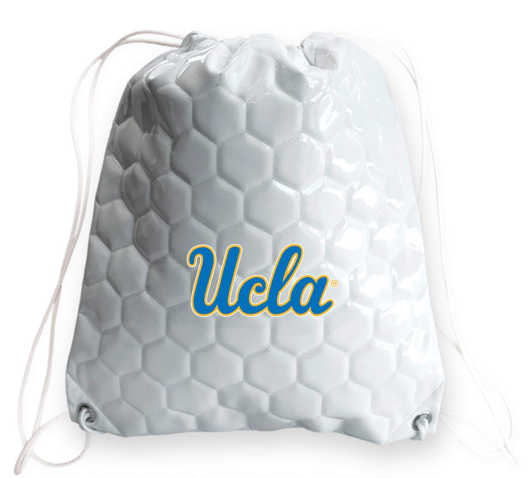 Zumer Sport UCLA Bruins Soccer Ball Leather Drawstring Shoulder Backpack Bag - Made from The Same Exact Materials as a Soccer Ball - White