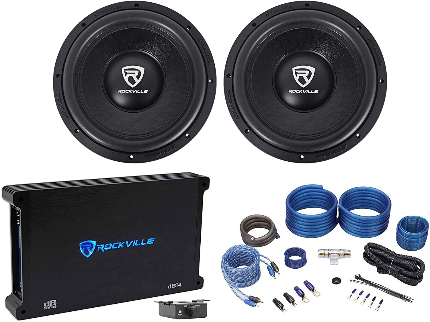 "(2) Rockville W12K6D2 V2 12"" 4800w Car Audio Subwoofers+Mono Amplifier+Amp Kit 71Dj3ts6k6LSL1500_"