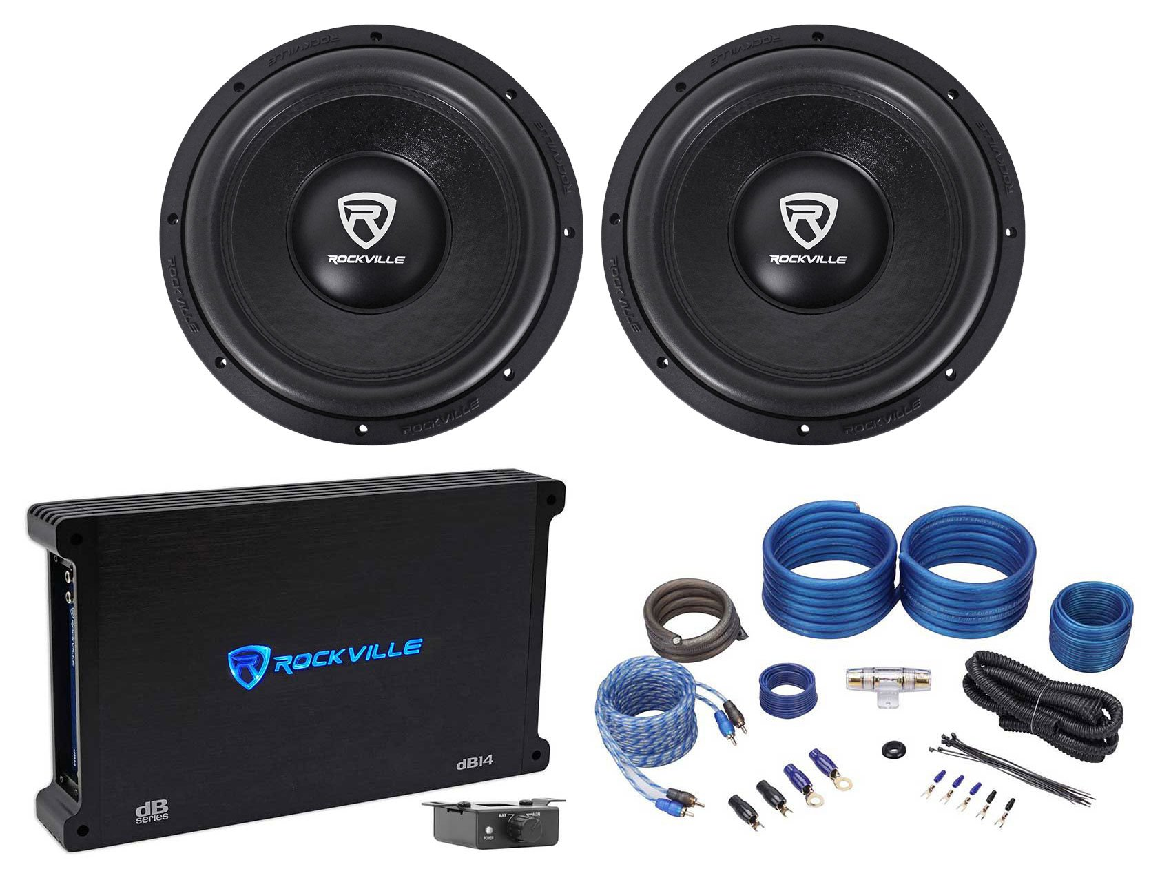 (2) Rockville W12K6D2 V2 12'' 4800w Car Audio Subwoofers+Mono Amplifier+Amp Kit