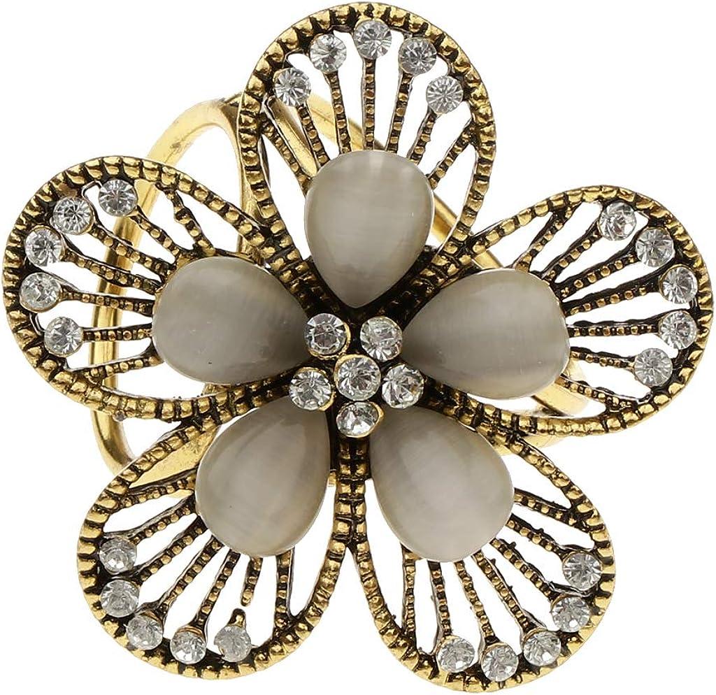 Baoblaze Unique Anneau Fleur Foulard Clip Titulaire Bijoux Broches