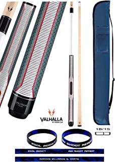 product image for Valhalla VA461 by Viking 2 Piece Pool Cue Stick, HD Graphic Transfers, Nickel Silver Rings, Ultra Opaque White, High Impact Ferrule, 18-21 oz. Plus Cue Case & Bracelet (VA461, 19)
