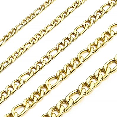 MOWOM 3PCS 4.0mm Wide Silver Tone Stainless Steel Necklace Snake Curb Box Chain Link 14~40 Inch