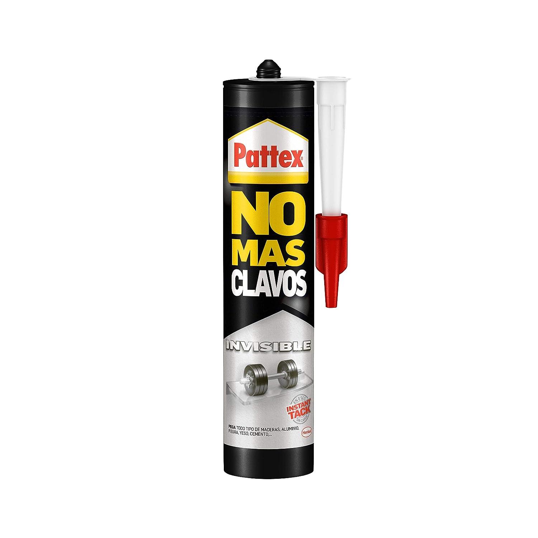 Pattex No Más Clavos Invisible, pegamento resistente transparente, pegamento extrafuerte para madera, metal y más, adhesivo de montaje instantáneo, 1 cartucho x 310 g