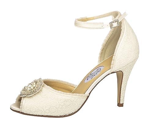 Brautschuhe Kelis Elsa Coloured Shoes Neu 11 Cm High Heels Satin Ivory Glitter Brautschuhe Kleidung & Accessoires