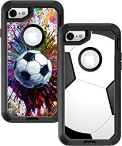 Teleskins Protective Designer Vinyl Skin Decals/Stickers Compatible with Otterbox Defender iPhone 8 & iPhone 7 Case - Soccer and Vintage Soccer Design Pattern [Pack of 2 Skins] - Only Skins